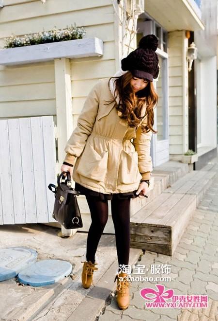 紧身裤 高跟靴/羊羔毛外套+紧身裤+高跟靴 韩式潮流美搭