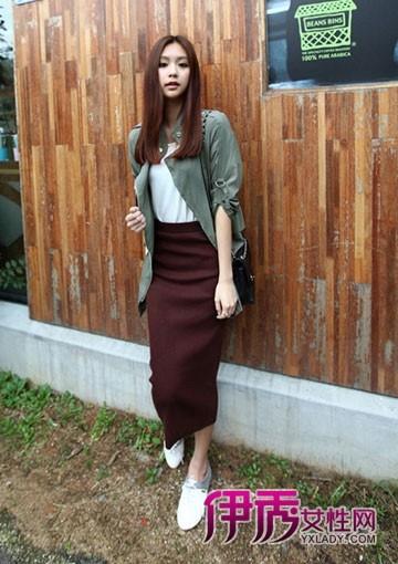 【韩国街拍】外套搭长裙