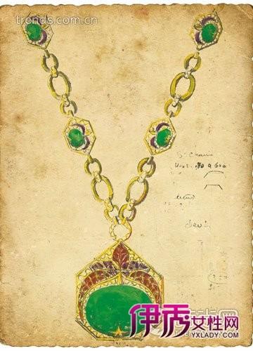 萧邦孔雀耳环设计手稿