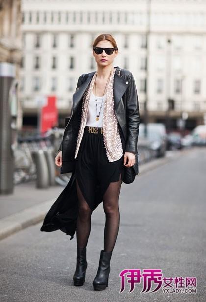 半身裙长短巧搭 欧美街拍亮点多多图片