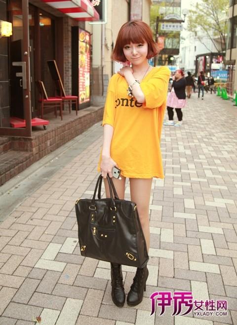 个性 黄色 t恤/姜黄色长款宽松T恤