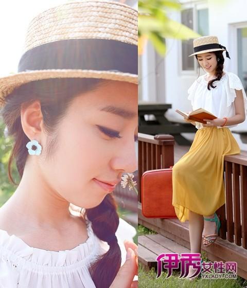 黄色 齐集/宽松的白色皱褶上衣,搭配姜黄色的雪纺连衣裙总是展现着一众柔...