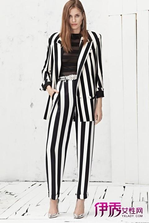 黑白条纹外套 黑白条纹西装外套女