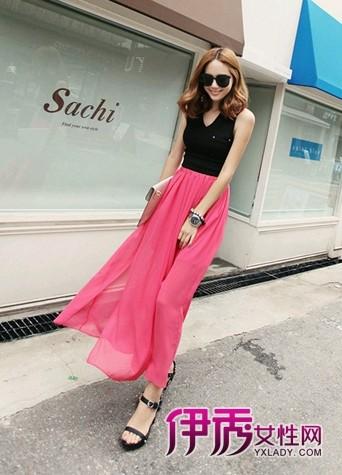 桃红色长款半身裙
