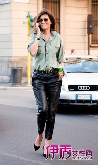 街拍紧身皮裤图片,街拍紧身皮裤,街拍紧身皮裤图片