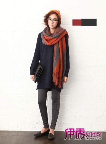 拼色铁锈红围巾