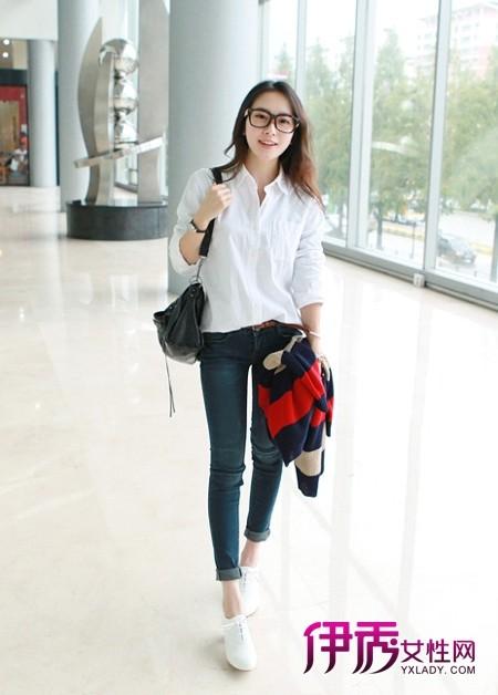 经典款白衬衫搭配紧身牛仔裤-白衬衫搭配 职场OL清新婉约派