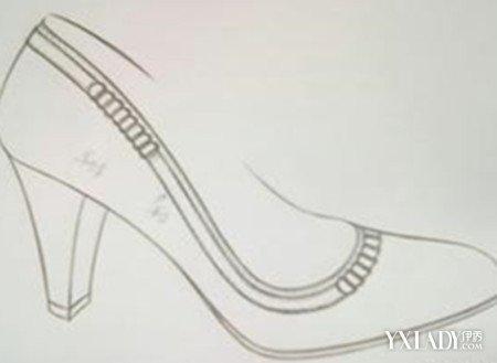 高跟鞋设计图手稿素描展示图片