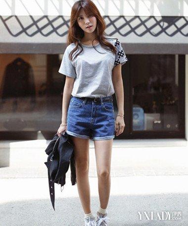 【图】紧身高腰超短裤美女搭配