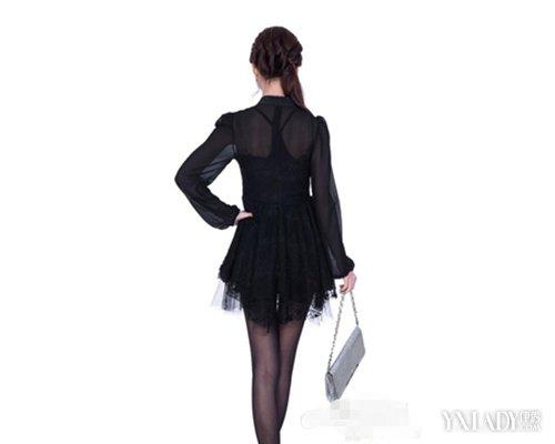 【图】丝袜黑色配性感连衣裙春季长袖显瘦高能银翘吗感冒片v丝袜维病毒性c图片