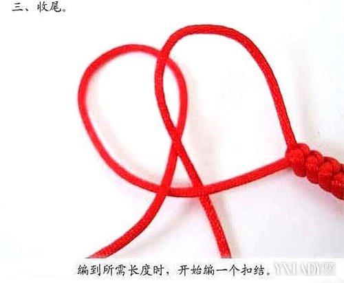 图解 红绳/5.每个线头如图绕过前方临线从底下挑两线进中间。...