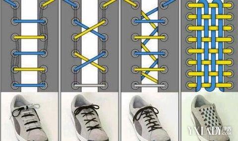 6拉链系法 1.将鞋带头由底部平直穿入并从每个鞋孔的下面向上穿出. 2.图片