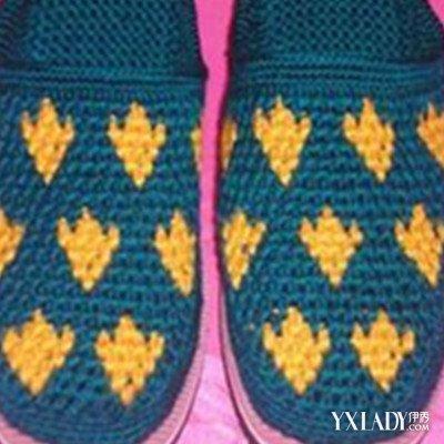 勾毛线拖鞋图案