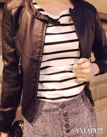 冬皮衣搭配图片女生图片展示 彰显帅气风格