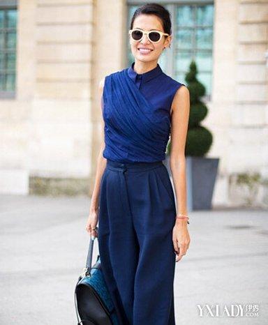 藏蓝色阔腿裤搭配图欣赏 看欧美街拍怎么搭图片
