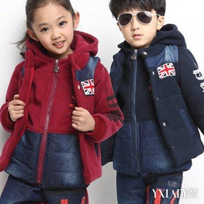 可爱儿童套装 卫衣女冬加厚三件套保暖_卫衣女