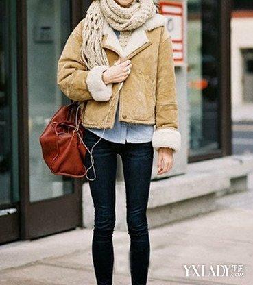 矮个子女生冬季穿衣搭配图片一米五Look2:麂皮外套+衬衫+高腰裤+