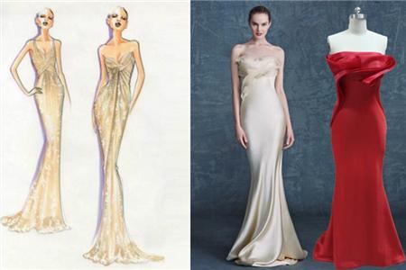 这类礼服的款式也不少,像鱼尾裙就是最经典的代表,现在的鱼尾裙设计