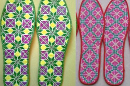 鞋垫格子花样图配刺绣 个性暖和舒适双脚