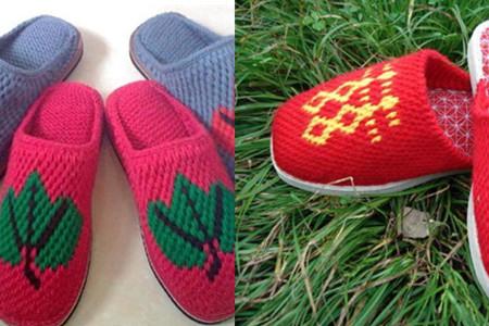 1,手工编织的毛线拖鞋实用率高