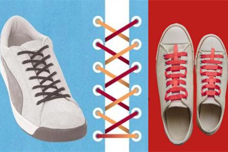 一定不要局限于传统的方法,可以多尝试几种花样,把鞋带也穿出时尚.