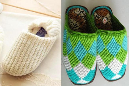 毛线拖鞋的编织方法 几分钟就可以轻松搞定