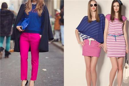深蓝色配枚红色_单品搭配 正文  当我们穿玫红色裙子的时候,可以用来搭配蓝色的上衣