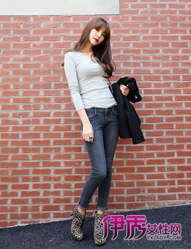 搭配 紧身裤/【图】秋季牛仔紧身裤搭配塑造完美腿型