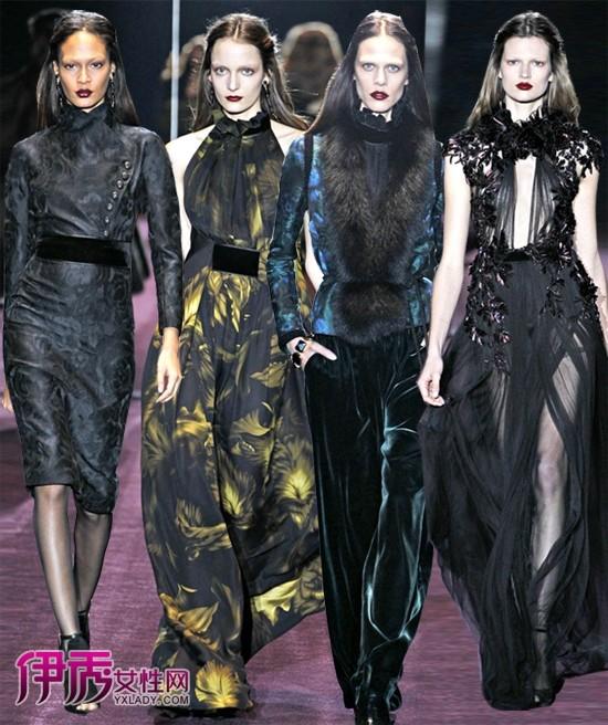 罗曼/2012秋冬米兰时装周 Gucci时装秀黑暗的罗曼主义...