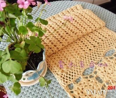 编织 织法/钩针编织森林系杏色转运围巾织法