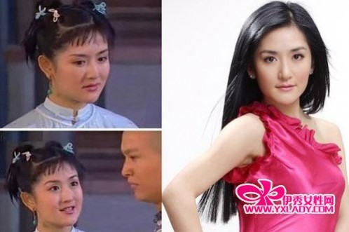 妆容点评: 左边照片里的谢娜刘海过短,束高的头发把整块大脸图片