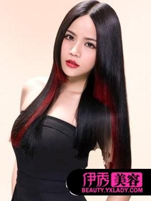 ... 头发,玫红色挑染头发,红色头发挑染图片,_挑染头发玫