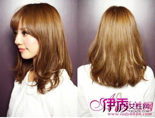 柔顺的中长发垂直只有发尾处才稍微的塑造卷度图片