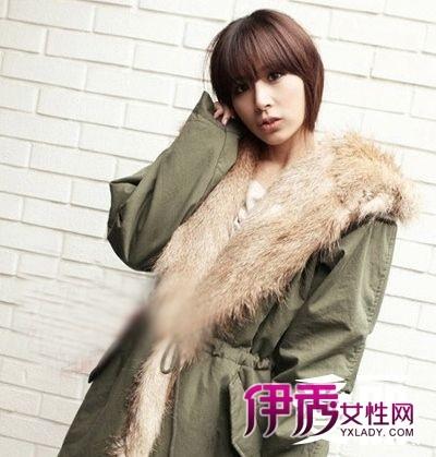 齐刘海的短发发型设计,到眼睛的刘海发梢,酒红头发颜色,即小脸塑形图片