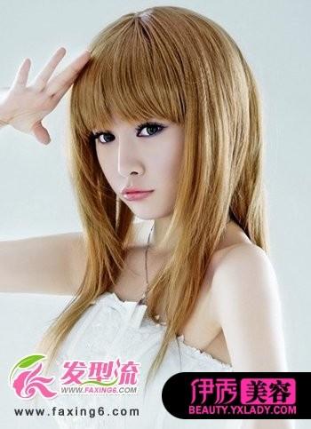 棕色染发发型的直发,洋气时尚
