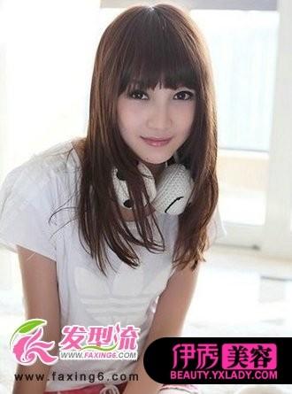 齐刘海中长发发型图片