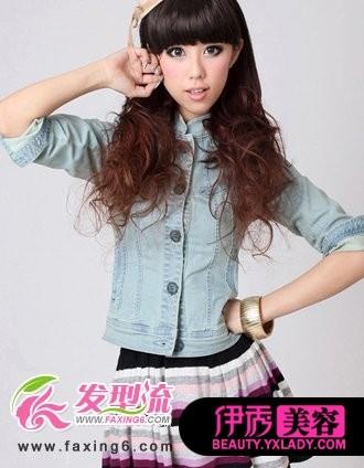 齐刘海烫发发型-中长发烫发发型图片 玩转六月时尚风图片