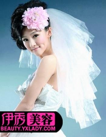 新娘皇冠头纱发型黑发分享展示
