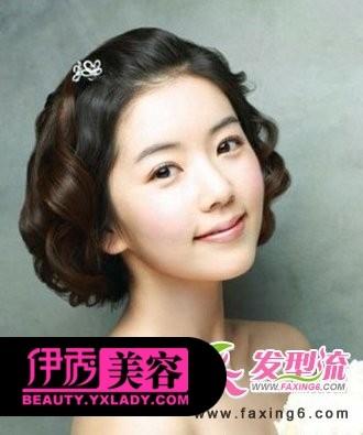 韩式短发新娘发型图片-短发新娘发型设计 适合短发的新娘发型图片