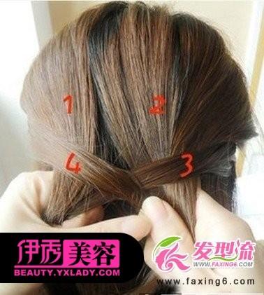 淑女韩式发型编发步骤四:持续再从另一边挑起一股头发加入编发中.