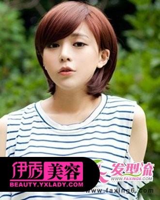 斜刘海短发发型图片-发型流推荐五款小清新范短发发型图片