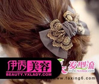 短发烫发发型 蕾丝蝴蝶结发夹图片