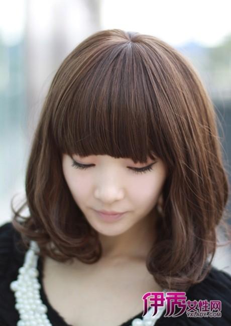 适合的发型二、齐刘海内扣梨花头-头型尖适合什么发型及女生头型尖图片