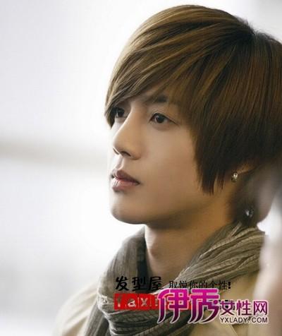 刘海/明星帅哥,浅金色的斜刘海,服顺的头发设计,紧紧贴额头的造型...