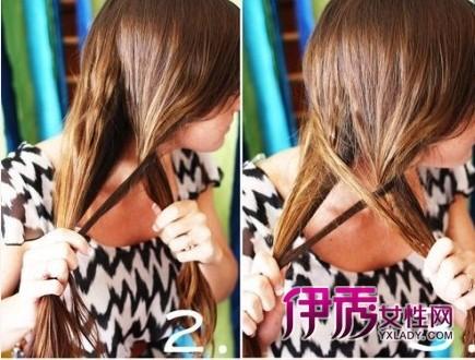美容 发型 流行发型 / 正文  鱼尾辫编法步骤第二步