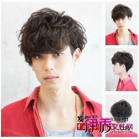 男生齐刘海纹理烫发型 杜绝扁塌阳光帅气图片