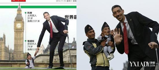 【组图】世界最高的人和世界最矮的人亮相伦敦 高个子