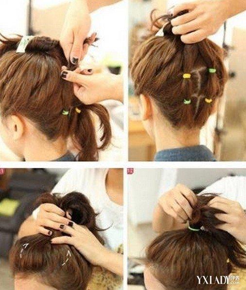短发发型扎法 短发时尚丸子头简单扎发