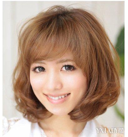 圆脸适合的发型四:  这款蓬松波波头发型设计,刘海和发尾瞬间把脸蛋