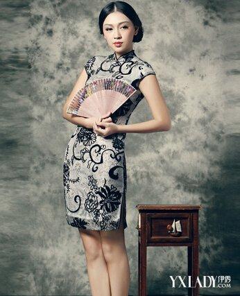 优雅女人旗袍背影手绘